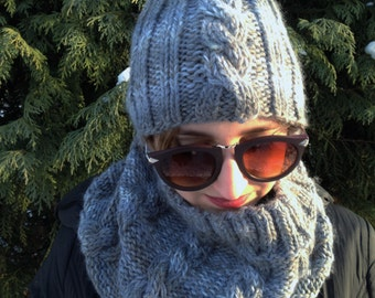 Handknit set: winter cap with bobble and tube scarf, knitted, handmade,  plait pattern