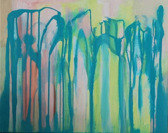Abstract Art in Acrylic Paint (original), made by Charlie Albright from blog Moments by Charlie