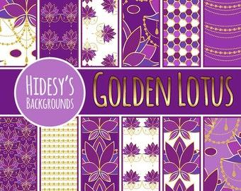 "Lotus Floral Digital Paper / Background / Pattern ""GOLDEN LOTUS"""