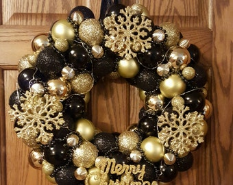 Black and Gold Lighted Ornament Wreath