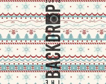 Large Photography Backdrop- Vintage Winter - 5'x5', 5'x6', 5'x7', 5'x10'