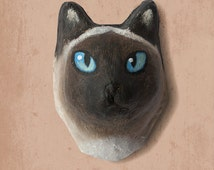 Wall hanging.  Paper mache siamese cat head