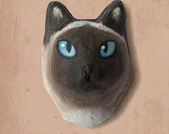 Wall hanging.  Paper mache siamese cat head