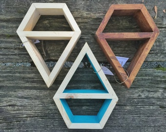 Diamond Shaped Wooden Shelf Display