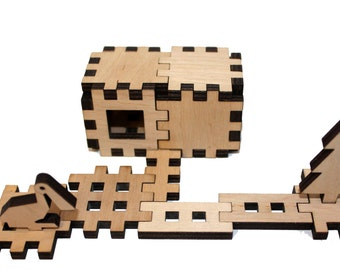 Zoo animals. Wooden 3D puzzle. Plywood puzzle furniture. Plywood puzzle design interesting figures.