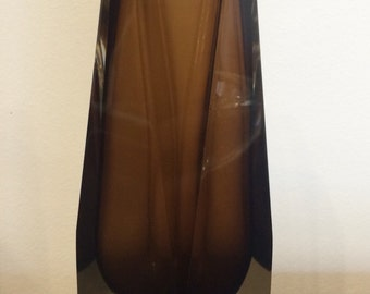 Brown Murano Faceted vase