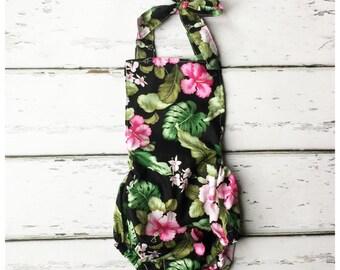 Hibiscus Floral Romper, Playsuit, Sunsuit, Tropical Romper
