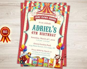Circus Birthday Invitation. Circus Invitation. Printable Circus Themed Party 4th Birthday Invite Circus Birthday Party Invitation