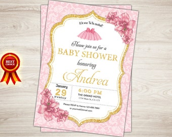 Tutu Baby Shower Invitation. Baby Girl Shower Invitation. Chalkboard,  French Coral Pink White