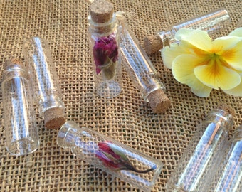 10x  4cm  thin small glass bottles with corks for craft projects, wedding favor