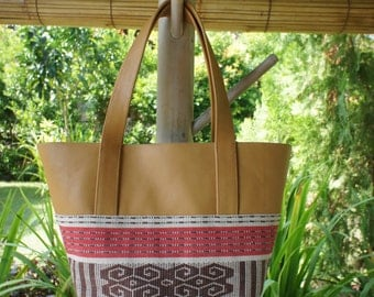 Shipping from Japan! Soft cow leather + Boti handwoven ikat tote bag (medium)