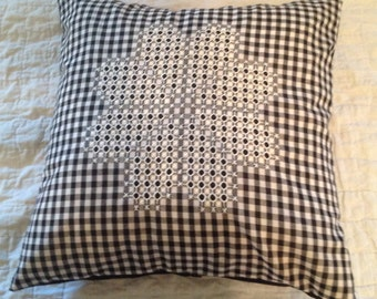 Hand embroidered chicken scratch pillow cover