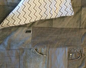 Gray Skies Twin size denim quilt