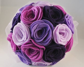Large Purple Felt Flower Wedding Bouquet, Alternative Wedding Bouquet, Keepsake Bouquet