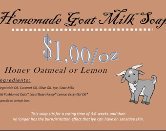 Goat Milk Soap 4oz Bar