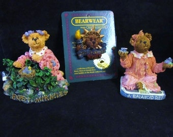 "Boyds Bears The Bearstone Collection "" Joy S. Bearheart +Ms. Liberty Pin + Jenny Sweet-Tooth ""  Resin Figurines"