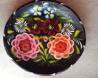 Hand painted Vintage wood plate
