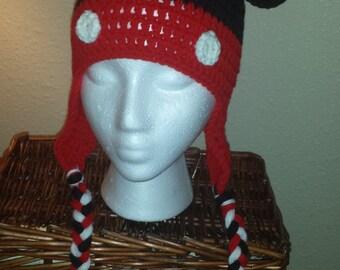 Crochet Mickey Mouse Earflap Hat- Child Size