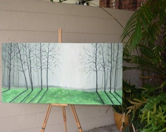 Oil painting with trees in forest
