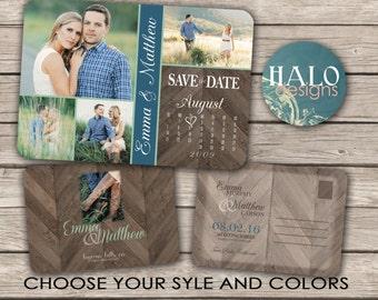 Rustic Save the Date Calendar Postcard - printable card