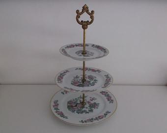servant porcelain from limoges - cakes 3 plates-presenter