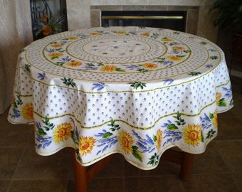 Good French Country Vintage SUNFLOWER LAVENDER WHITE Round Coated Tablecloth    French Oilcloth Tablecloths   Sunflower Lover