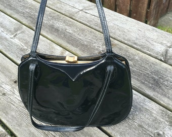 Navy Blue Patent Leather Vintage Handbag by Renata of Italy Bags