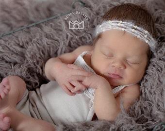 NEWBORN HEADBAND with pearls, newborn photo props, baby girl headband, baby girl photo props