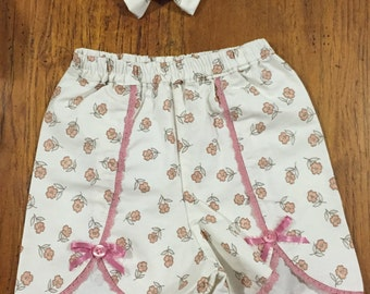 Little N Shorts for girls Size 1-2Y with Hair Bow
