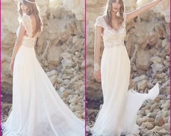 Lace Bohemian Wedding Dress,Handmade,Boho Beach Wedding Dress,lace wedding gown,chiffon wedding dress,Vintage wedding dres,boho bridal gown