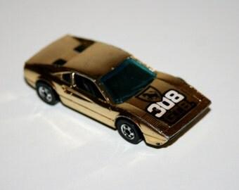 Vintage 1970's Mattel HOT WHEELS Gold Race Bait 308 Ferrari Diecast Car - Made In Hong Kong