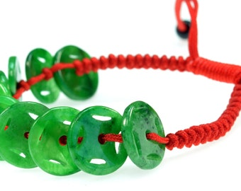 Feng Shui Jade Stone Coin Bracelet - Good for Luck and Prosperity - 91039
