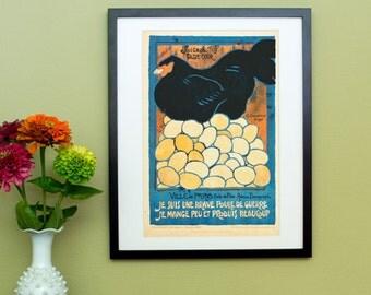 Je Suis Une Brave Poule de Guerre - I am a brave hen of war - Vintage French Poster Reproduction - Chicken and Eggs
