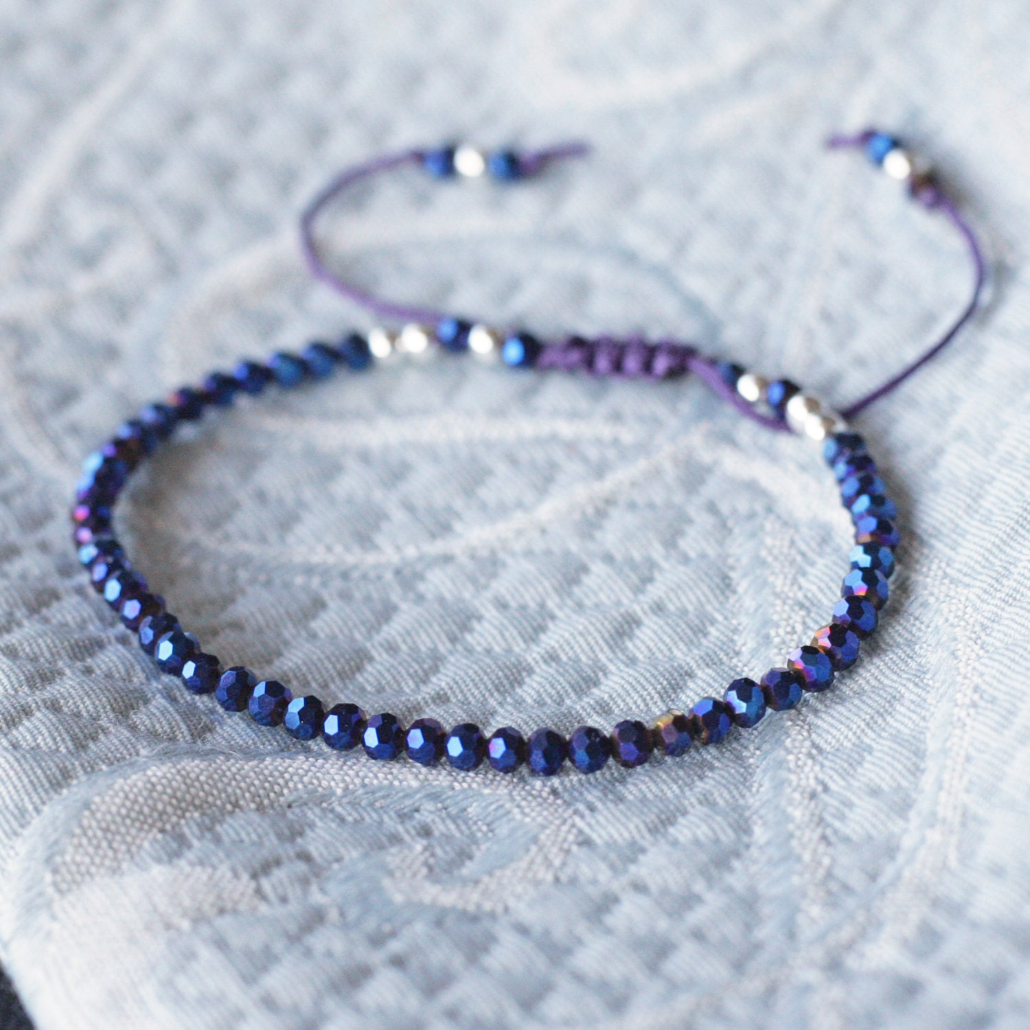 sparkly midnight blue bead bracelet small bracelet cord