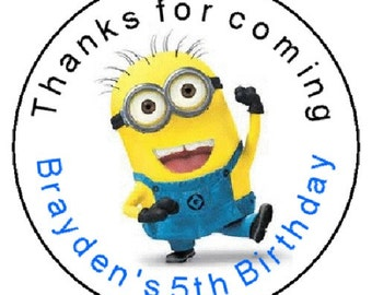 "24 Minion Despicable Me Birthday Favor Label Stickers Personalized 1.67"" FREE SHIPPING"