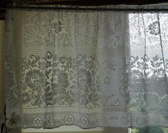 "Scottish COTTON VALANCE 24"" drop Cafe Curtain Brise-bise sold per yard/Metre cut off the roll cottage lace decor"