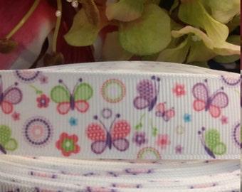 3 yards, 7/8' grosgrain ribbon butterfly design