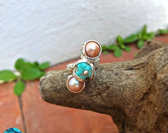 Pinkish Pearly & Turquoise Ring