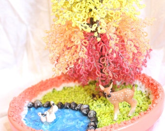 Autumn/Fall beaded forest tree Sculpture