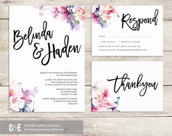 Watercolor Wedding Invite, Multicolor Wedding Invitations, Contemporary Wedding Invitation, Modern Wedding Invitation, Watercolour Wedding