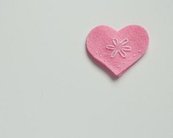 Handmade Pink Felt Heart Corner Bookmark