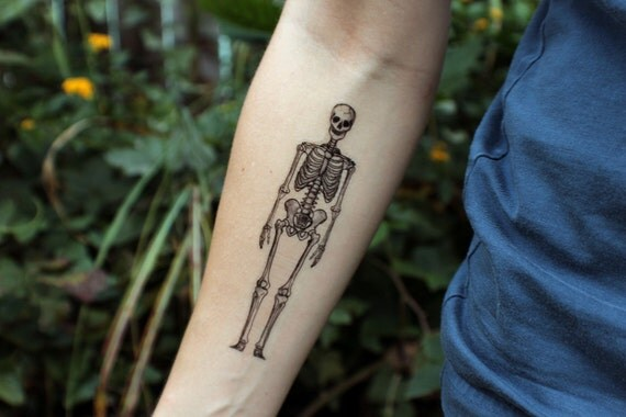 Human Being Skeleton Temporary Tattoo, Bones Tattoo, Black Ink Design