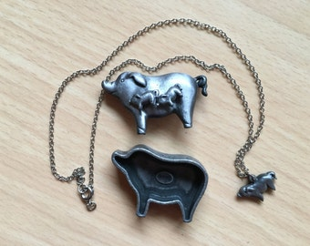 Vintage Torino Pewter Pig Earrings, Brooch, Necklace and trinket box