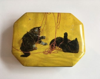 Vintage Yellow Cat Tin