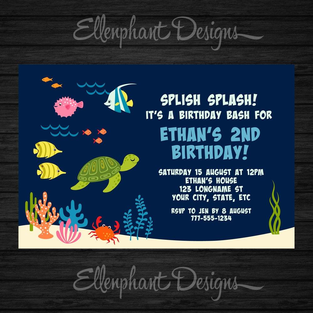 Under The Sea Birthday Invitation Ocean 1st 2nd 3rd 4th
