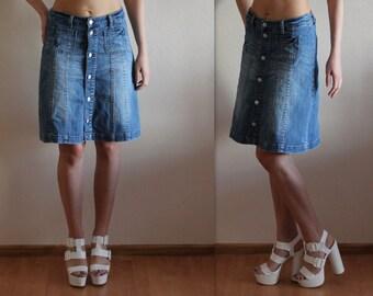 Button Up Denim Skirt Denim Mini Skirt High Waisted Denim Skirt Jeans Skirt Button up Denim Skirt Washed Out Denim Skirt Medium Size