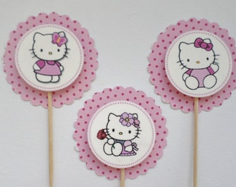Hello Kitty Inspired Cupcake Toppers, Hello Kitty Birthday Party, Set of 12