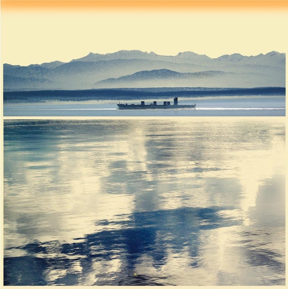 Passage, Summer Print Sale, photo art, limited edition, blue art print, ship, contemporary wall art, blue artwork, waterscape,reflections