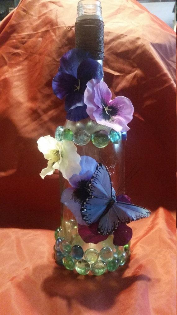 Flower butterfly decor flower vase recycled wine bottle for Wine bottle flower vase