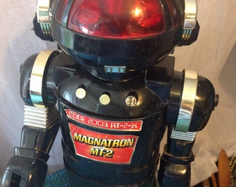Vintage Robot Magnatron MT-2 by New Bright Toys Walking Robot black gold 1985 robot